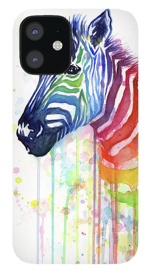 Rainbow IPhone 12 Case featuring the painting Rainbow Zebra - Ode to Fruit Stripes by Olga Shvartsur