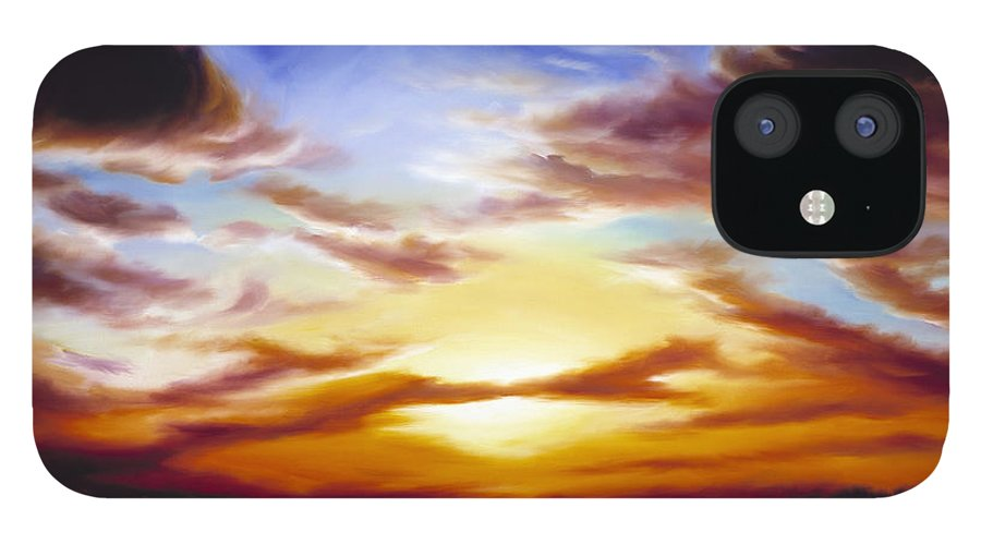 Skyscape IPhone 12 Case featuring the painting As the Sun Sets by James Christopher Hill