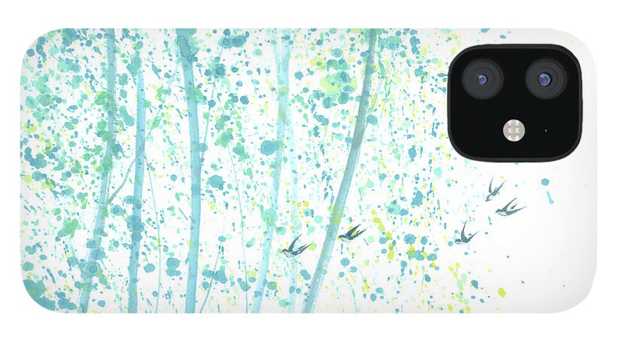 Birds Flying Through An Aspen Forest. This Is A Contemporary Chinese Ink And Color On Rice Paper Painting With Simple Zen Style Brush Strokes. IPhone 12 Case featuring the painting Aspen Forest by Mui-Joo Wee