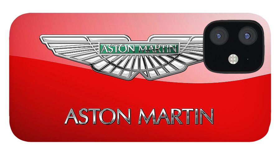 Wheels Of Fortune� Collection By Serge Averbukh IPhone 12 Case featuring the photograph Aston Martin - 3 D Badge on Red by Serge Averbukh