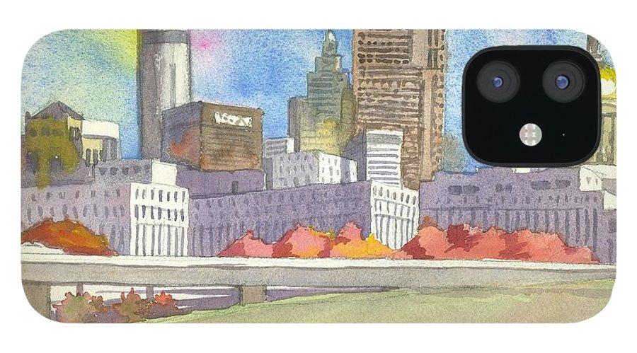 Atlanta IPhone 12 Case featuring the painting Atlanta Skyline Color by Scott Serafy