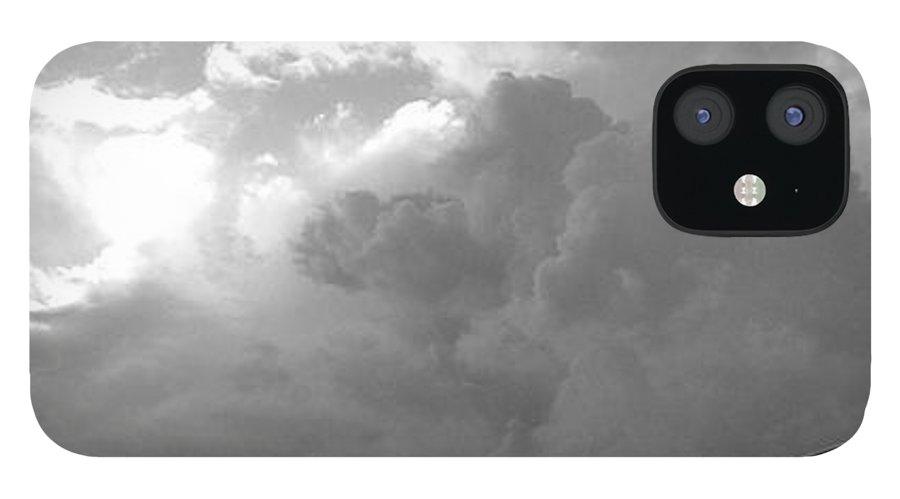 Black And White IPhone 12 Case featuring the photograph Atmospheric Barcode 19 7 2008 16 version BW by Donald Burroughs