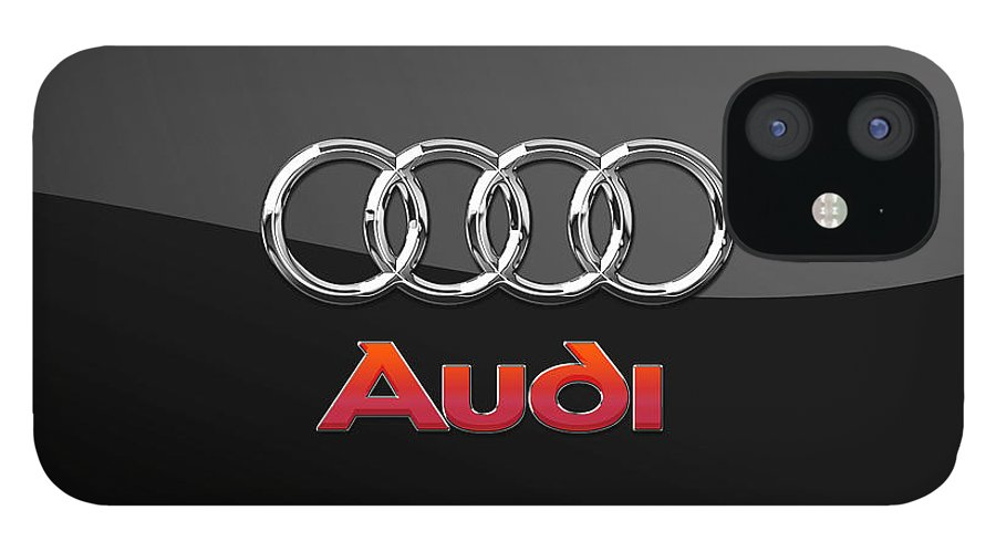'wheels Of Fortune' Collection By Serge Averbukh IPhone 12 Case featuring the photograph Audi 3 D Badge on Black by Serge Averbukh