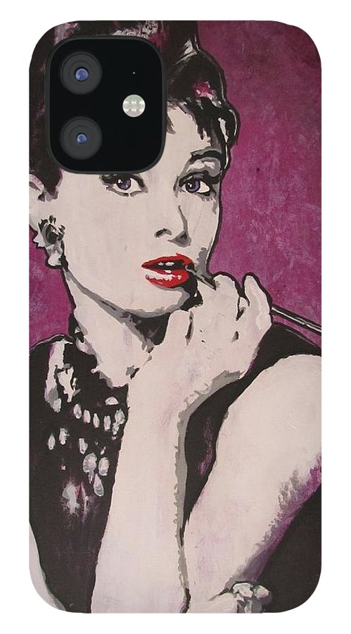 Audrey Hepburn May 4 1929 - Jan 20 1993 . Moon River. Breakfast At Tiffany's. IPhone 12 Case featuring the painting Audrey Hepburn - Breakfast by Eric Dee