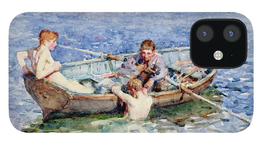 Boat IPhone 12 Case featuring the painting August Blue by Henry Scott Tuke