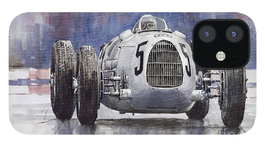 Auto IPhone 12 Case featuring the painting Auto-Union Type C 1936 by Yuriy Shevchuk