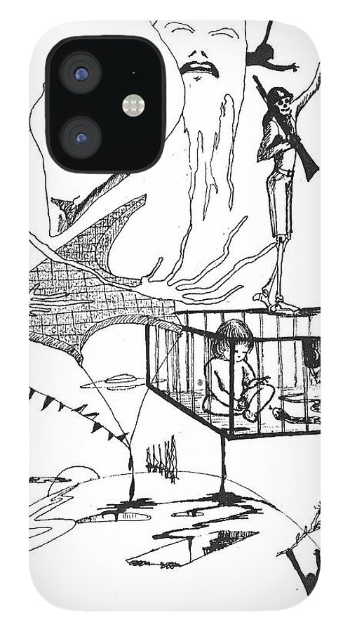 Drawing Pen Automatism IPhone 12 Case featuring the drawing Automatism by Veronica Jackson