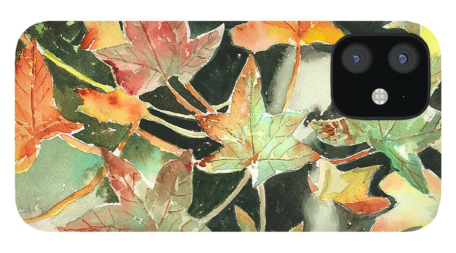 Leaf IPhone 12 Case featuring the painting Autumn Leaves by Arline Wagner