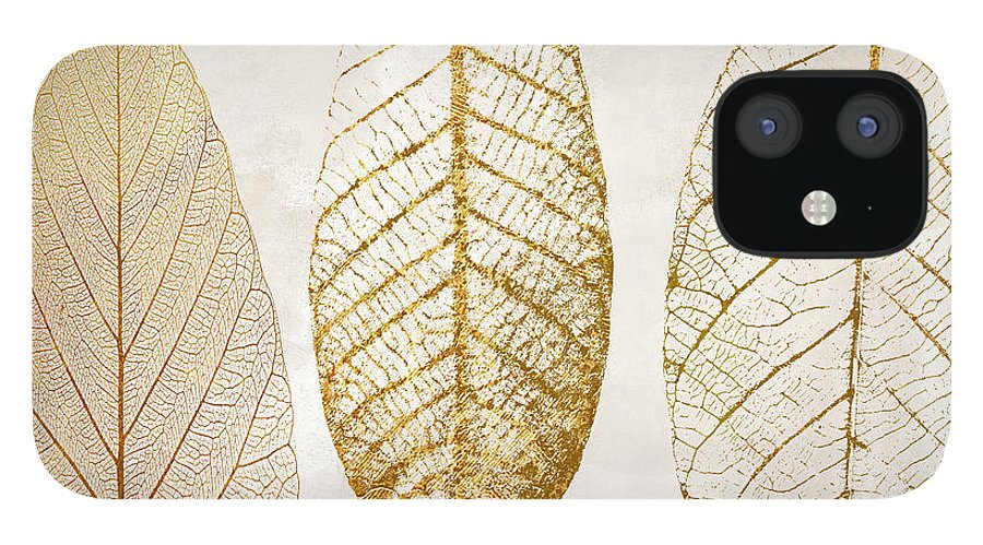 Leaf IPhone 12 Case featuring the painting Autumn Leaves III Fallen Gold by Mindy Sommers