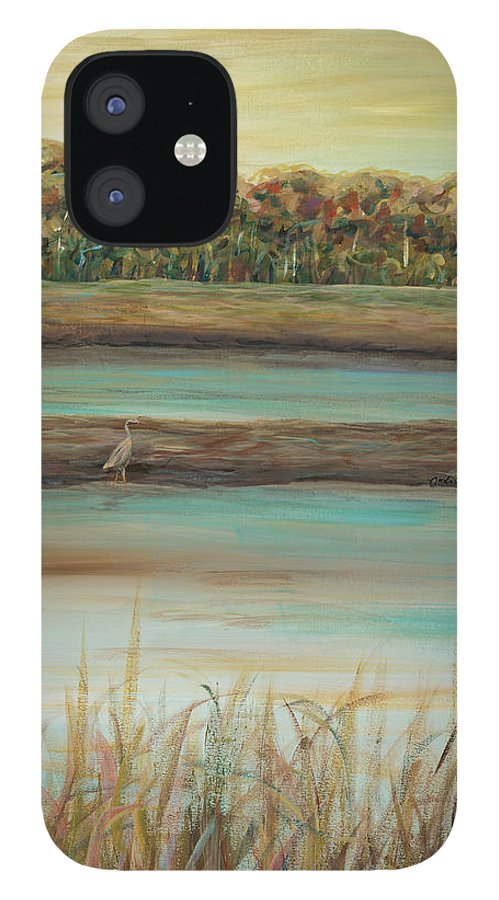 Bird iPhone 12 Case featuring the painting Autumn Marsh and Bird by Nadine Rippelmeyer