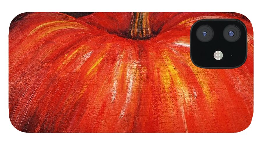 Orange IPhone 12 Case featuring the painting Autumn Pumpkins by Nadine Rippelmeyer