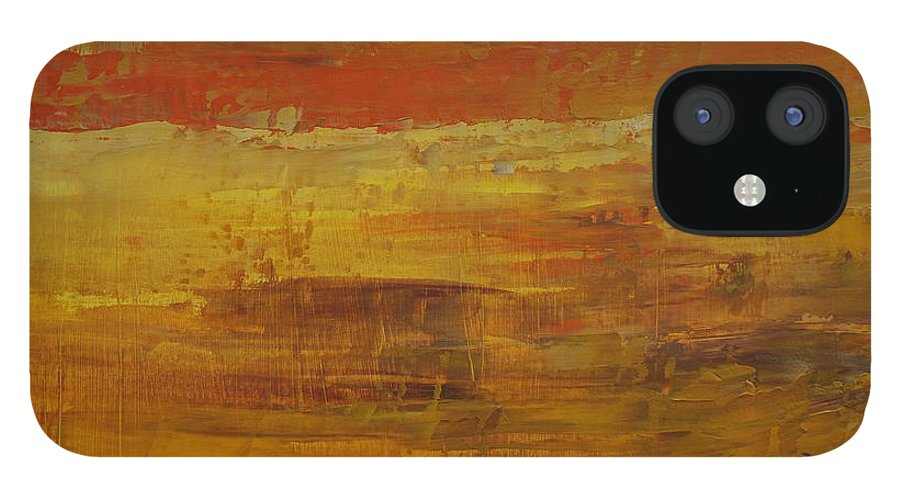 Abstract IPhone 12 Case featuring the painting Autumn Reflections by Jimmy Clark