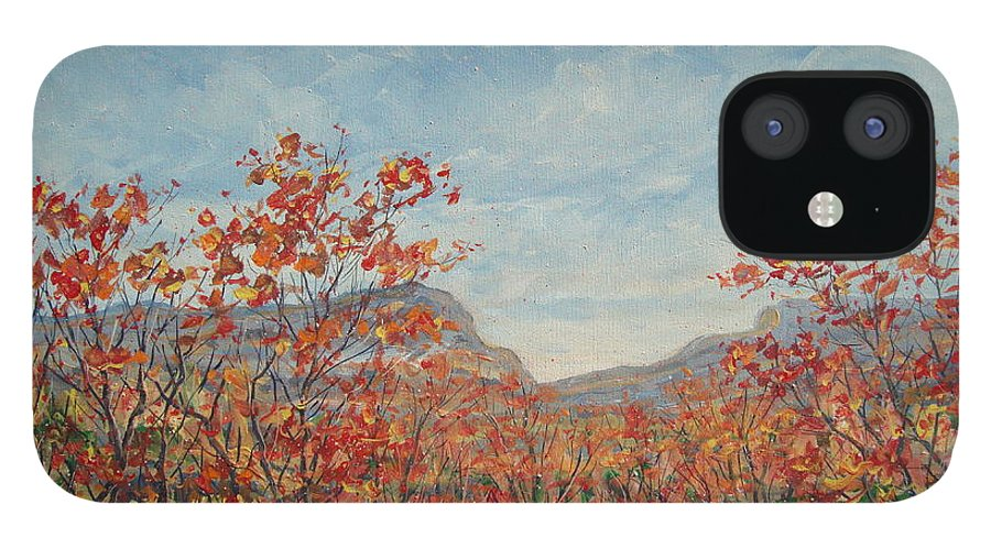 Paintings IPhone 12 Case featuring the painting Autumn View. by Leonard Holland