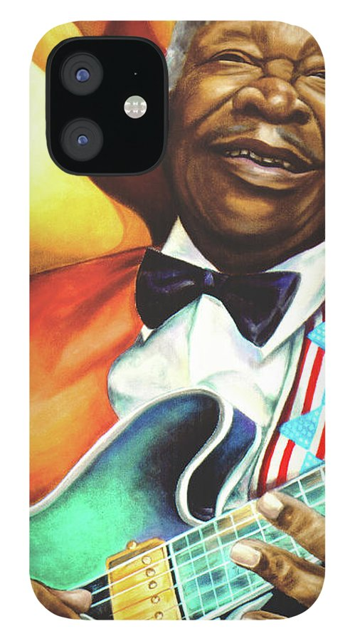 Musical IPhone 12 Case featuring the painting B. B. King by Marcella Muhammad