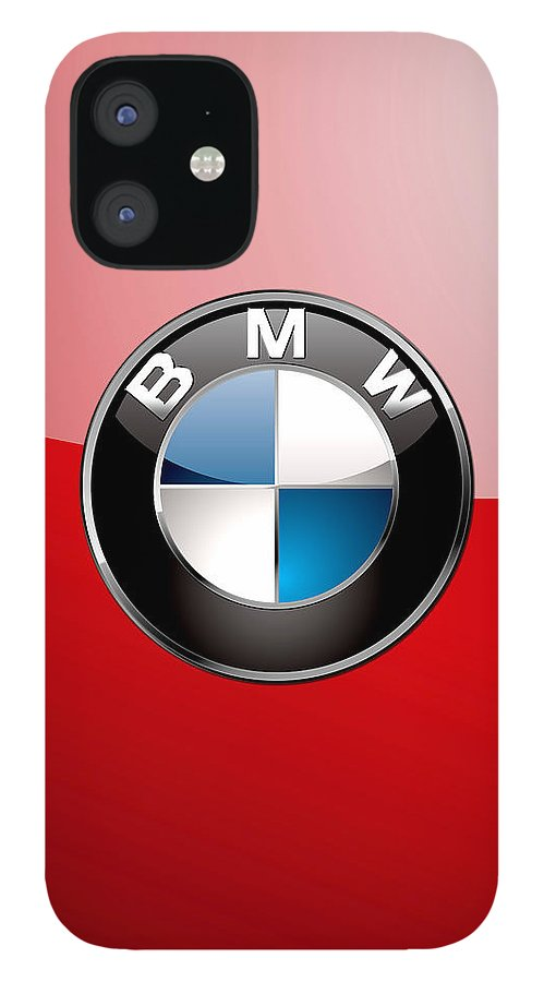 'auto Badges 3d' By Serge Averbukh IPhone 12 Case featuring the photograph B M W Badge On Red by Serge Averbukh