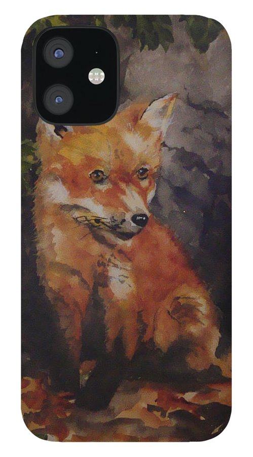 Fox IPhone 12 Case featuring the painting Babe In The Woods by Jean Blackmer