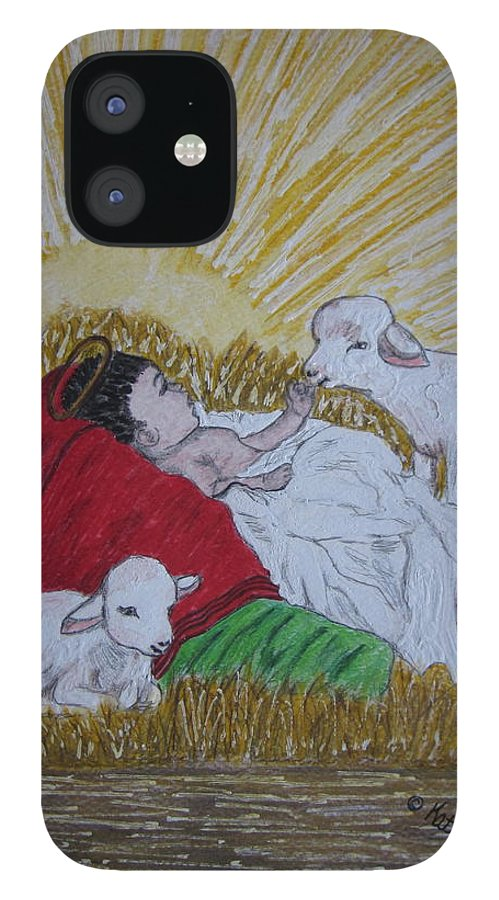 Saviour IPhone 12 Case featuring the painting Baby Jesus at Birth by Kathy Marrs Chandler