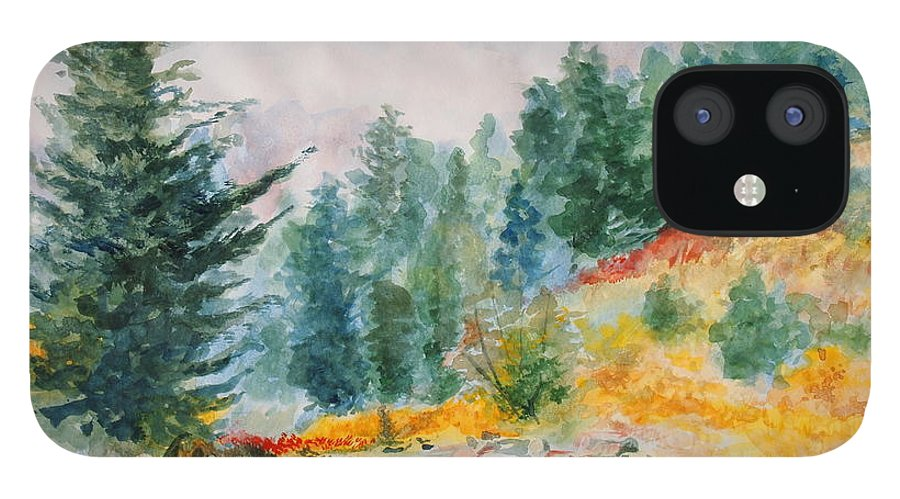Landscape IPhone 12 Case featuring the painting Afternoon in the Backcountry by Andrew Gillette