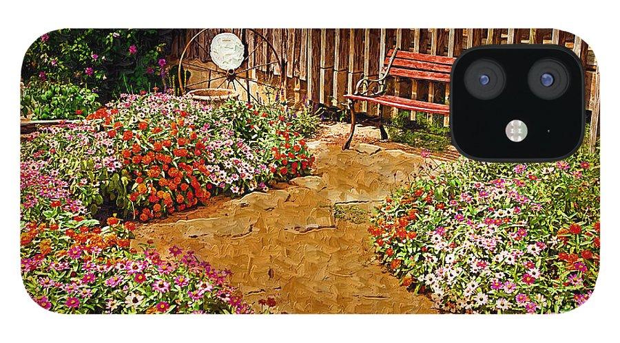 Pink Flower IPhone 12 Case featuring the digital art Backyard Garden by Paul Bartoszek