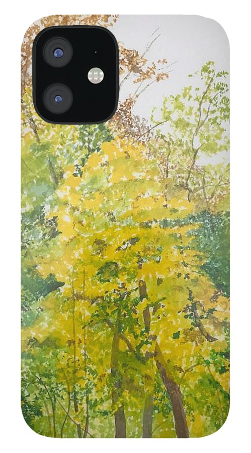 Autumn IPhone 12 Case featuring the painting Backyard by Leah Tomaino