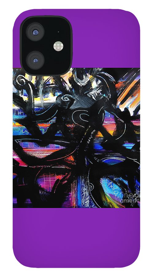 Original Painting On Canvas .abstract IPhone 12 Case featuring the painting Badass Black by Priscilla Batzell Expressionist Art Studio Gallery