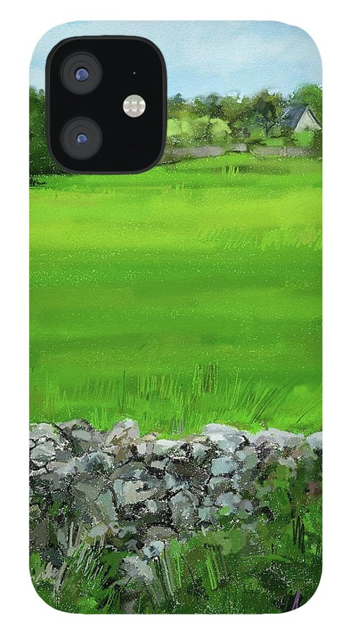 Ballyvaughn Walls Ireland Landscape Painting Clare IPhone 12 Case featuring the digital art Ballyvaughn Fields by Scott Waters