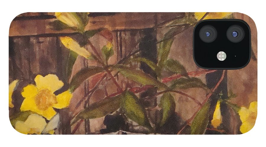 Flower IPhone 12 Case featuring the painting Barn Door Hinge by Jean Blackmer