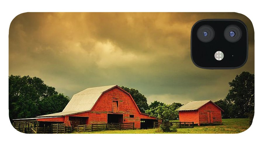 Red IPhone 12 Case featuring the photograph Barn in the USA, South Carolina by Zayne Diamond Photographic