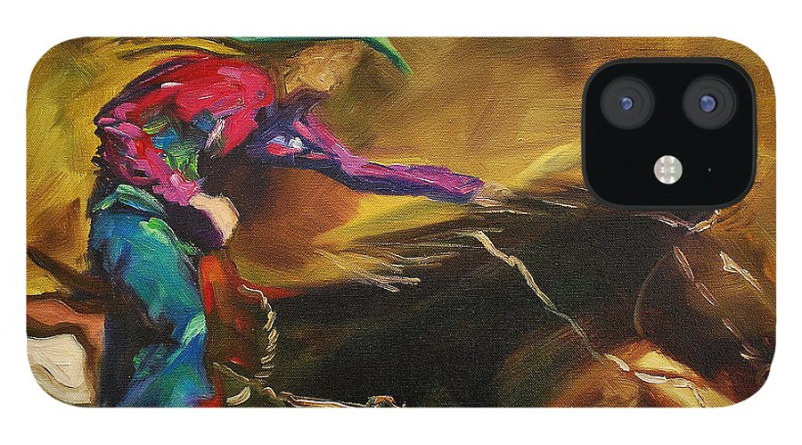 Western Art iPhone 12 Case featuring the painting Barrel Racer by Diane Whitehead