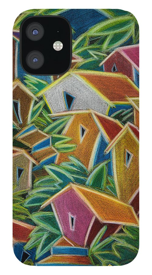 Landscape IPhone 12 Case featuring the painting Barrio Lindo by Oscar Ortiz