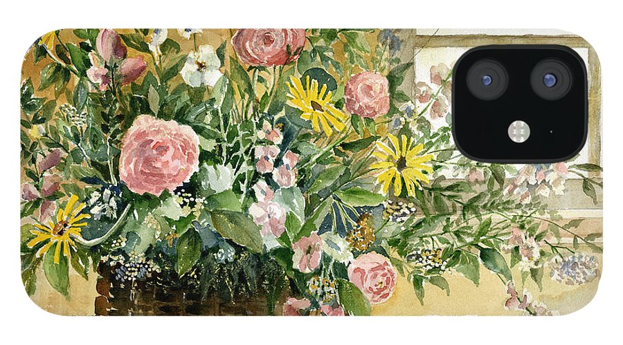 Basket IPhone 12 Case featuring the painting Basket Bouquet by Arline Wagner