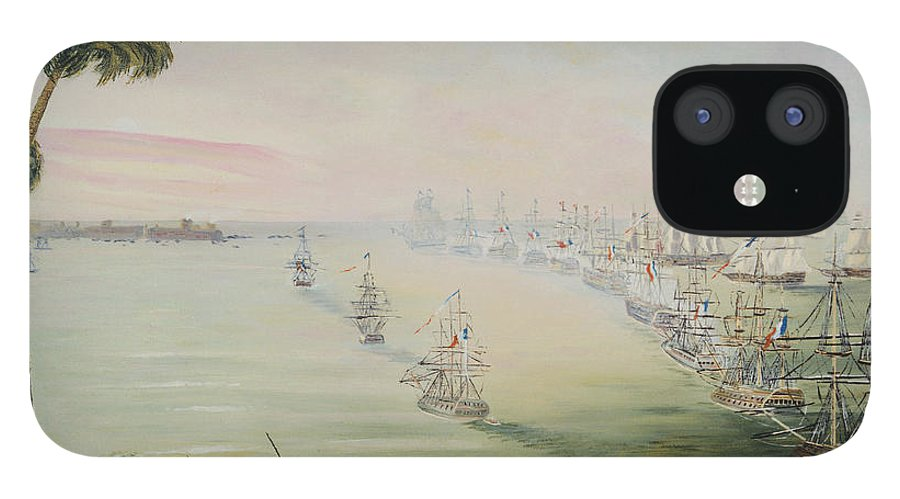 Sea Battle IPhone 12 Case featuring the painting Battle Of The Nile by Richard Barham