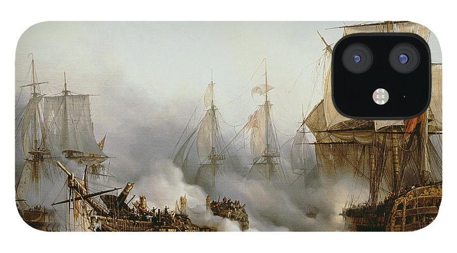 Battle Of Trafalgar By Louis Philippe Crepin IPhone 12 Case featuring the painting Battle of Trafalgar by Louis Philippe Crepin