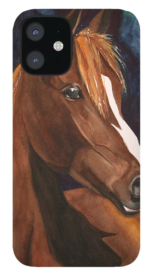 Horse IPhone 12 Case featuring the painting Bay on Blue 2 by Jean Blackmer