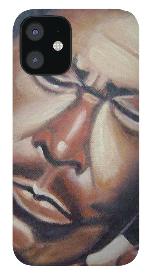 B.b. King IPhone 12 Case featuring the painting B.b. King by Toni Berry