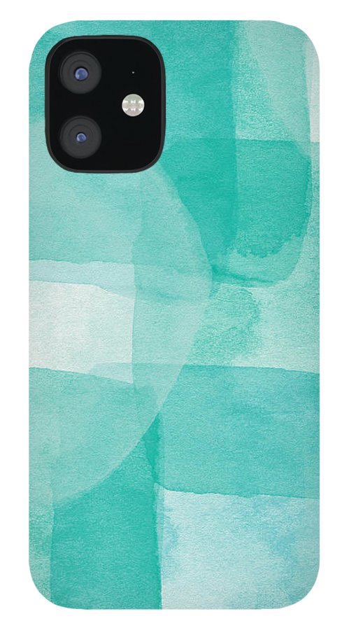 Abstract IPhone 12 Case featuring the painting Beach Glass- Abstract Art by Linda Woods by Linda Woods
