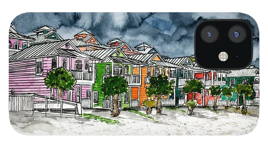 Watercolor IPhone 12 Case featuring the painting Beach Houses Watercolor Painting by Derek Mccrea