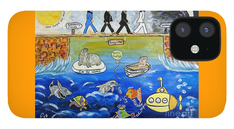 The Beatles IPhone 12 Case featuring the painting Beatles Song Titles Original Painting Characterization by Ella Kaye Dickey