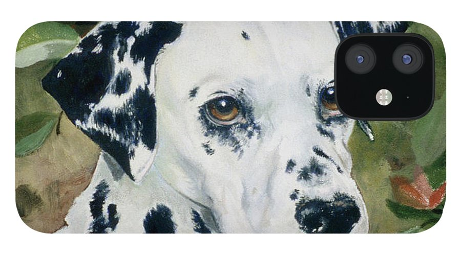 Portrait IPhone 12 Case featuring the painting Beaudiddeley by Eileen Hale