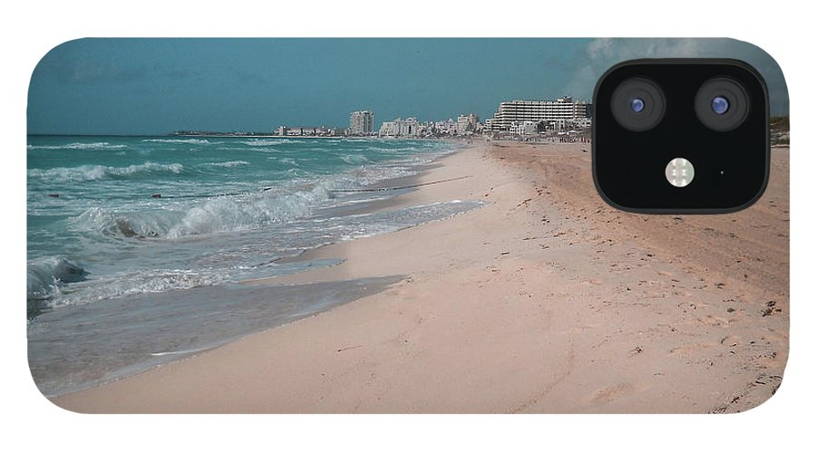 Beach IPhone 12 Case featuring the digital art Beautiful beach in Cancun, Mexico by Nicolas Gabriel Gonzalez