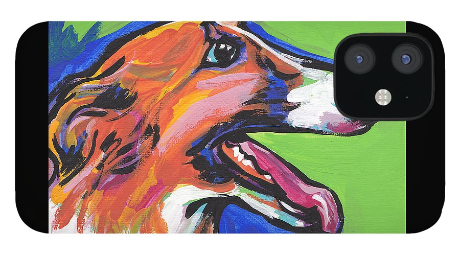 Borzoi IPhone 12 Case featuring the painting Beautiful Borzoi by Lea S
