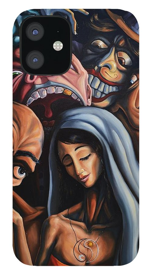 Surrealism IPhone 12 Case featuring the painting Beauty and the freaks by Darwin Leon