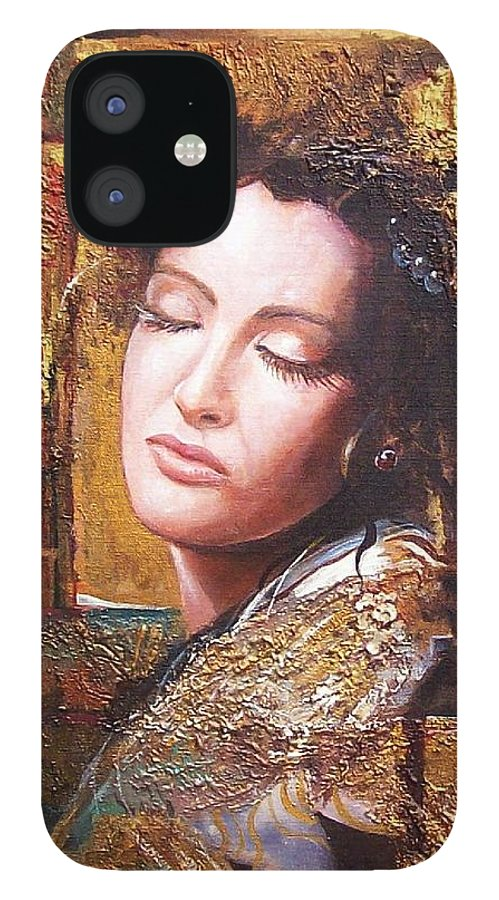 Female Portrait IPhone 12 Case featuring the painting Because You Are Beautiful by Sinisa Saratlic
