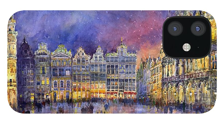 Watercolour IPhone 12 Case featuring the painting Belgium Brussel Grand Place Grote Markt by Yuriy Shevchuk