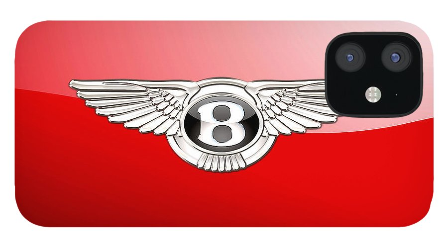 Wheels Of Fortune� Collection By Serge Averbukh IPhone 12 Case featuring the photograph Bentley 3 D Badge on Red by Serge Averbukh