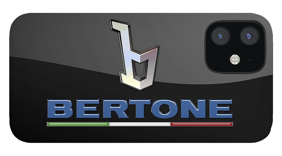 'auto Badges' Collection By Serge Averbukh IPhone 12 Case featuring the photograph Bertone - 3 D Badge On Black by Serge Averbukh