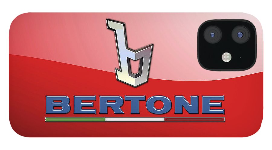 �wheels Of Fortune� Collection By Serge Averbukh IPhone 12 Case featuring the photograph Bertone 3 D Badge on Red by Serge Averbukh