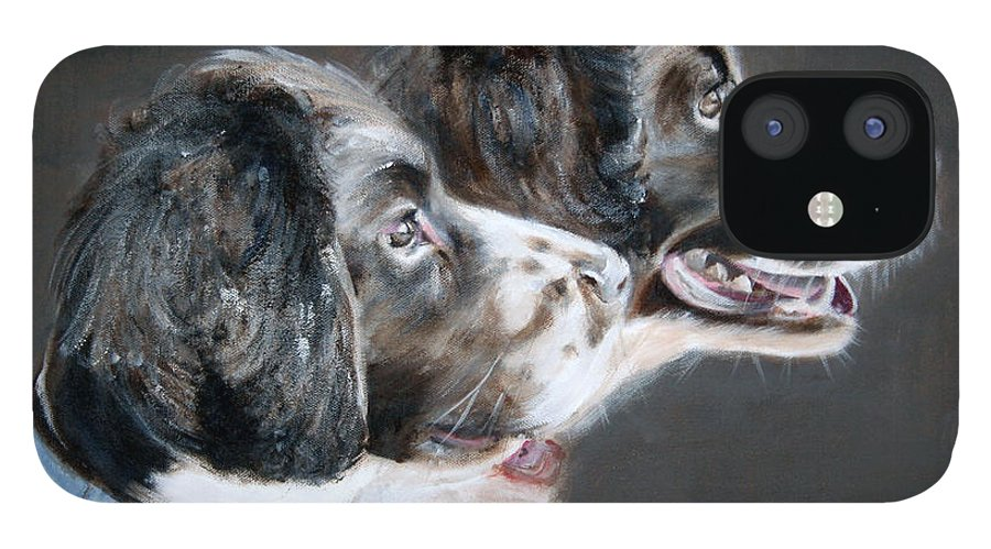 Dogs IPhone 12 Case featuring the painting Bill and Ollie by Fiona Jack