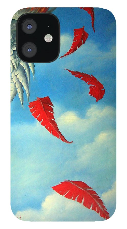Surreal IPhone 12 Case featuring the painting Bird on Fire by Valerie Vescovi