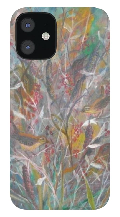 Birds IPhone 12 Case featuring the painting Birds In A Bush by Ben Kiger